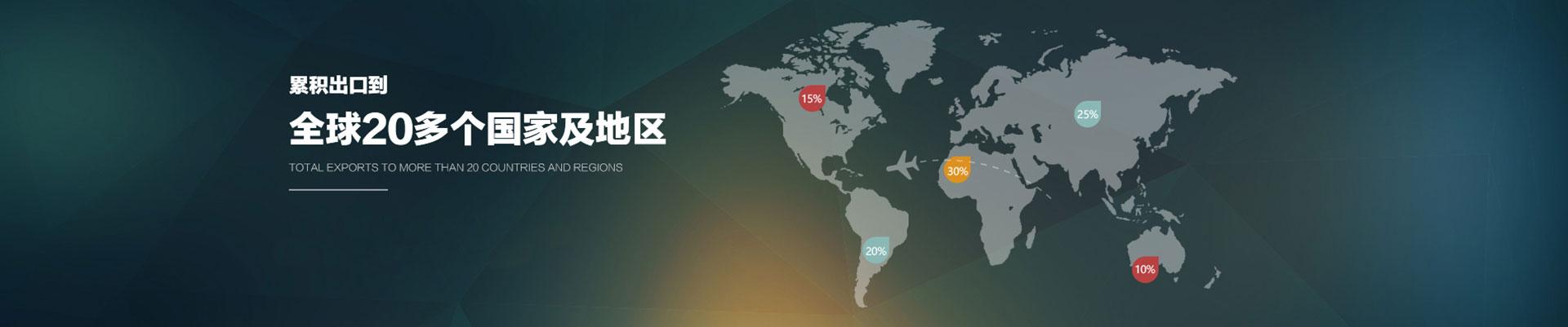 累积出口到全球20个国家和地区